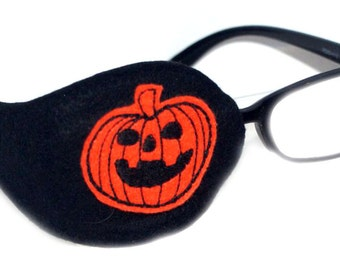 Kids and Adults Orthoptic Eye Patch For Amblyopia Lazy Eye Occlusion Therapy Treatment Halloween Pumpkin Design on Black
