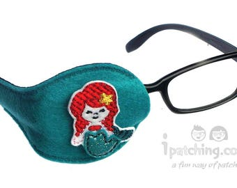 Kids and Adults Orthoptic Eye Patch For Amblyopia Lazy Eye Occlusion Therapy Treatment Little Mermaid on Teal