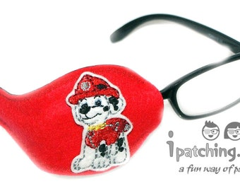 Kids and Adults Orthoptic Eye Patch For Amblyopia Lazy Eye Occlusion Therapy Treatment Marshall Design (Paw Patrol) on Red