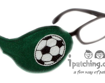 Kids and Adults Orthoptic Eye Patch For Amblyopia Lazy Eye Occlusion Therapy Treatment Football Design on Green