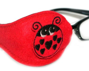 Kids and Adults Orthoptic Eye Patch For Amblyopia Lazy Eye Occlusion Therapy Treatment Ladybird Design on Red
