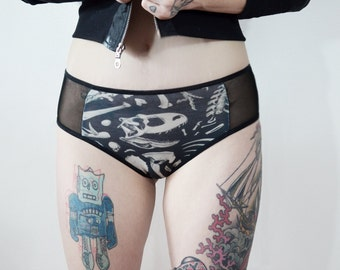 Panel Dinosaur Bones and sheer panties - underwear - handmade goth - punk