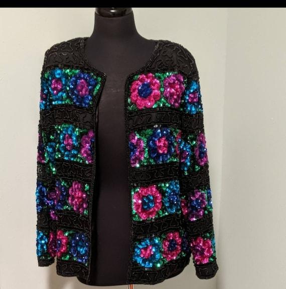 1980s Floral beaded blazer
