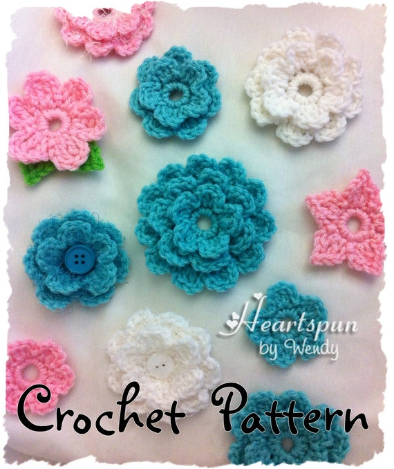 Crochet Pattern To Make A Single Double Triple Layer Flower Etsy