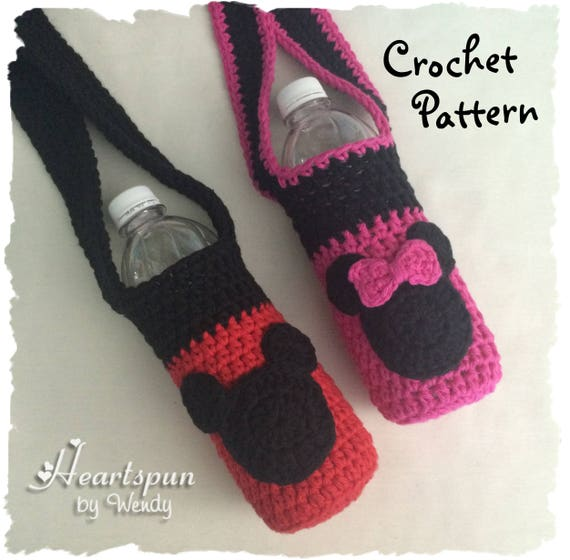 Crochet Pattern To Make A Mickey Mouse Minnie Mouse Drink Etsy