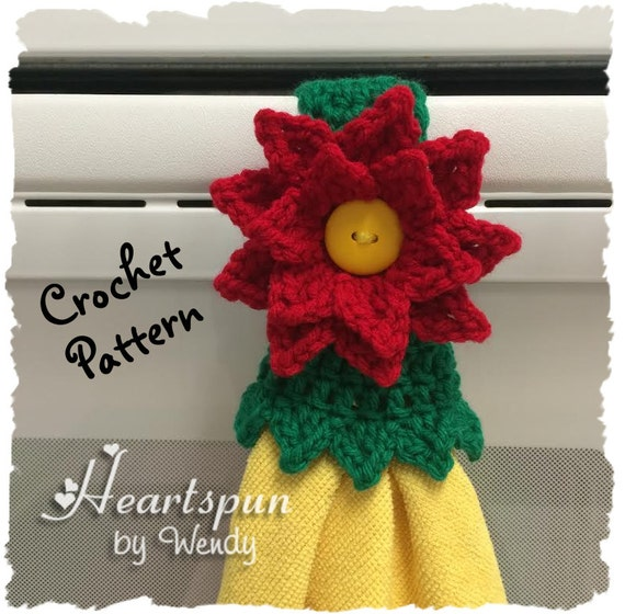 Crochet Pattern To Make A Christmas Poinsettia Kitchen Or Bath Etsy