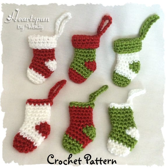 Crochet Pattern To Make This Mini Christmas Stocking Ornament Etsy