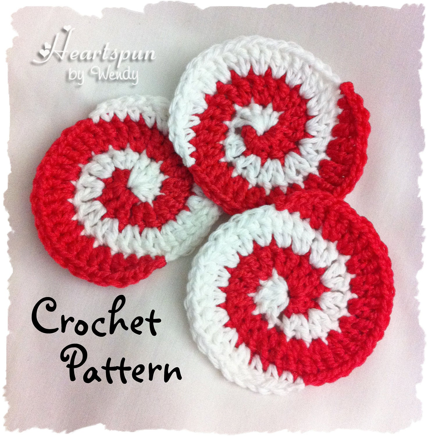 Crochet Pattern To Make A Christmas Peppermint Candy Pinwheel Etsy