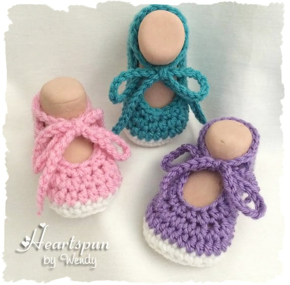 Baby Shoes Soft Sole Hand Crocheted Tie