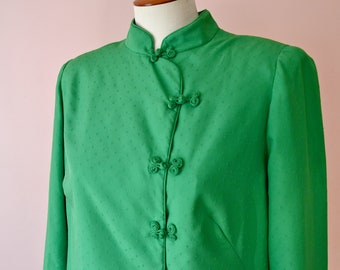 a19649b9741 1960s 1970s Green Cheongsam Dress. Green Cheongsam Tunic. Qipao Dress. Qipao  Jacket. Aline Gagne. Modern Size Large XL 1X Plus - VDS223