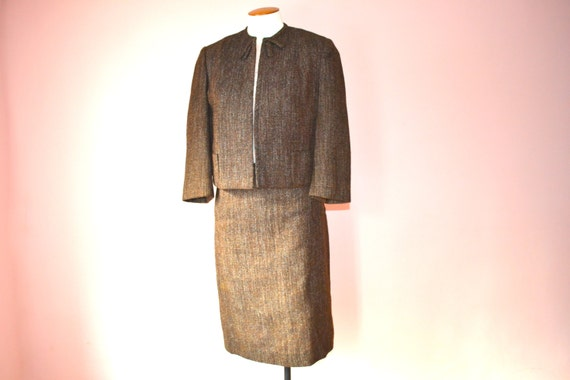 50s 60s Brown Tweed Skirt Suit Cropped Jacket and Pencil ...