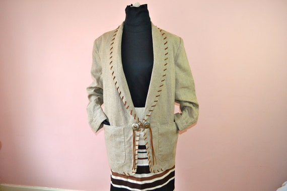 Western Linen Blazer with Leather Whip Stitched Oa