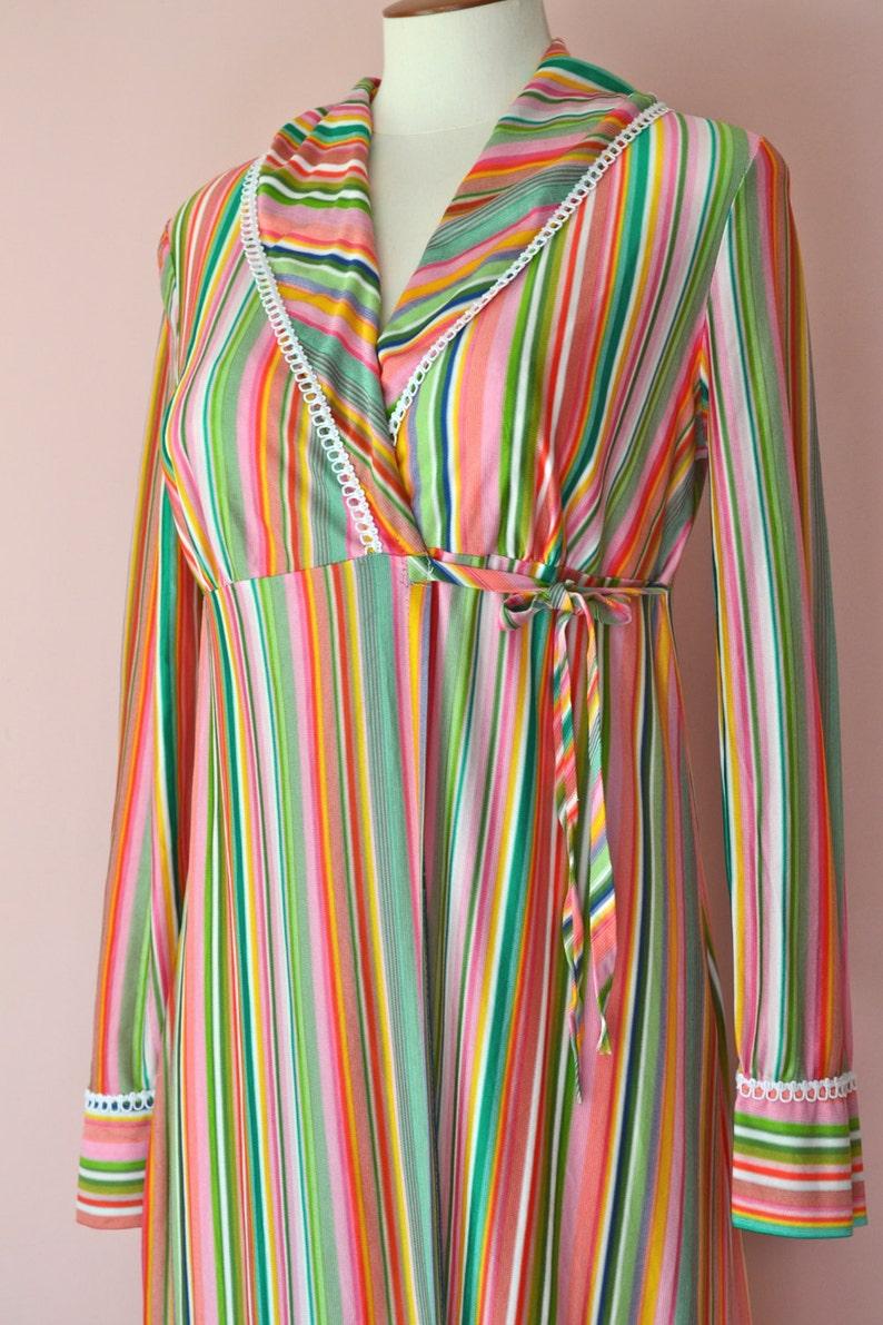 ecf4ea22547 1960 s Vintage Lingerie. Mod Striped Long Robe. Multi