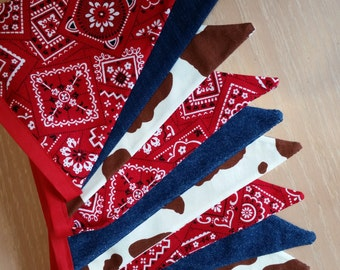 Fabric pennant banner, photo prop, barnyard party banner, western wedding banner, cowboy party banner, brown cow spots, denim, and bandana