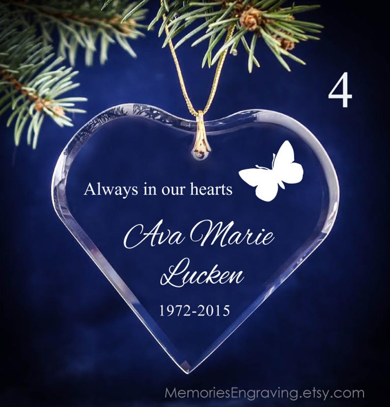 4 Butterfly design options Always in our hearts Butterfly Engraved Heart Personalized Crystal Ornament