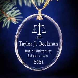 Graduation Date Keepsake \u2013 Circle Personalized Christmas Ornament Scale of Justice Law Degree J.D. LL.M.0 or S.J.D