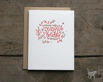 Peaceful Holiday Letterpress Greeting Card