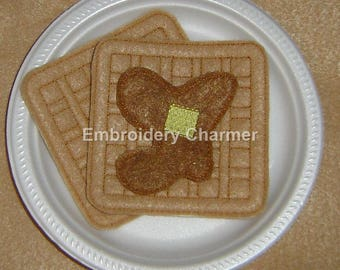 85a6af6b57f Waffles with Syrup and Butter Felt Food - Felt Waffles - Pretend Waffles -  Kids Quiet Play - Felt Food
