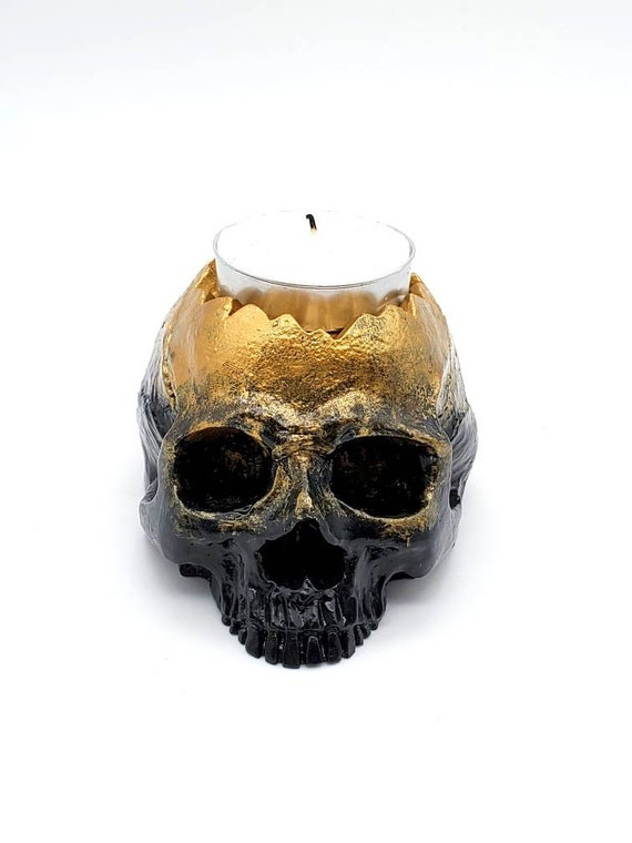 Eternal Flame Tealight Candle Holder Rose Gothic Skeleton Hand Painted Romantic