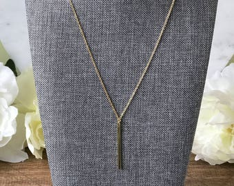 Gold bar delicate layering necklace