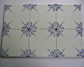 Delft inspired hand painted ceramic tile 4.25 inches square
