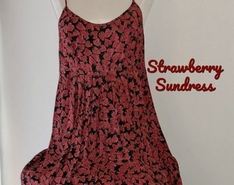 575c88cd1ab Vintage 80s Strawberry Sundress Zip Back