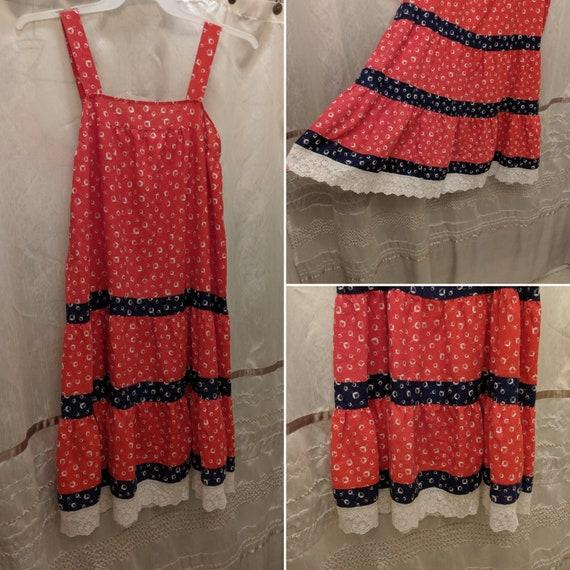 Vintage 70s Floral Sundress Red White Blue