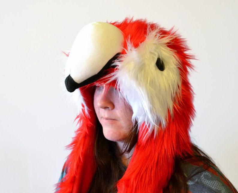 Scarlet Macaw Scoodie  Spirit Hood  Parrot Costume image 0