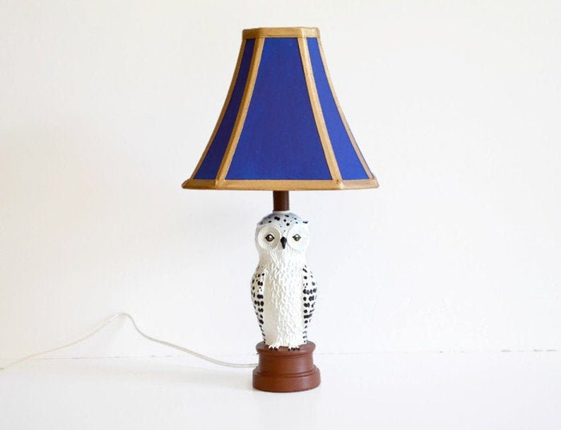 Magical Wizard House Lamp  Snowy Owl Lamp  Blue and Bronze image 0