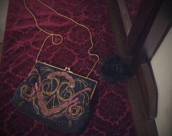 Avant garde beaded handmade clutch purse 80s