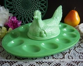 L E Smith Jadeite Hen on Nest - 12 1 2 quot Jadeite Deviled Egg Tray - Jadeite Egg Plate - Easter Egg Platter - L. E. Smith Jadeite Egg Server
