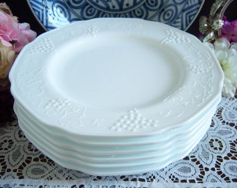 5fe23a6885f7 Milk Glass Dinner Plates - Set of Six Indiana Glass Colony Harvest Milk  Glass Plates - Wedding Milk Glass - Vintage Wedding - 9 1/2