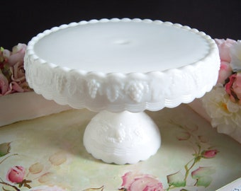 Imperial White Milk Glass Cake Stand - Wedding Cake Stand - Vintage Wedding - Wedding Milk Glass -  Vintage White Milk Glass Cake Stand