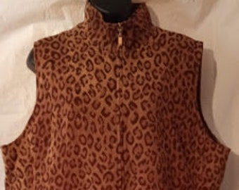 5138dde6ed380 90s Vintage Susan Graver Leopard Print Sleeveless Jacket-Top-Vest-Boho-Hipster-Plus  Size 1X xL 1XL-48