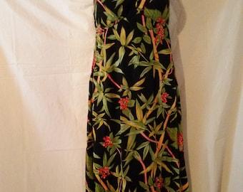 b5cdb76e6d1 BIG ESTATE SALE-80s Vintage Sundress-Bra In-Ruffle Midi Beach Dress-Casual-Hawaii  Aloha-Size 4-Small-36