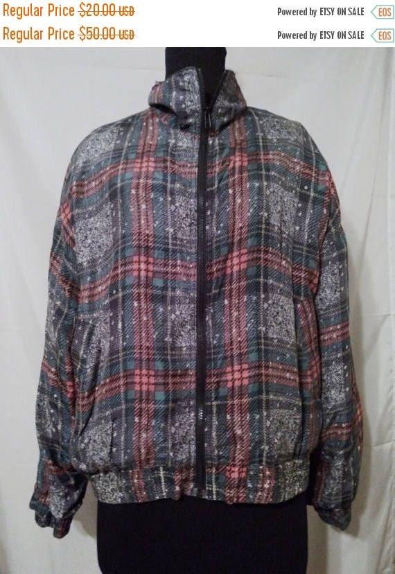 b66ee0b43045 90s Vintage Silk Plaid Windbreaker Bomber Jacket-Track | Etsy