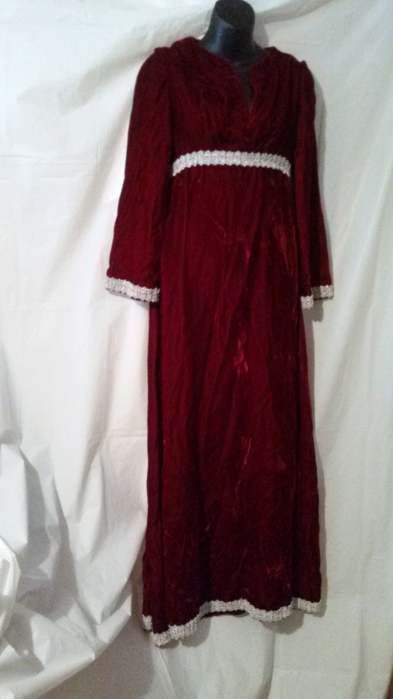 a69c96fefe737 BIG CLEARANCE SALE-70s Vintage Red Velvet Maxi Dress-Mod Party Boho  Holiday-Size 4-Small-36