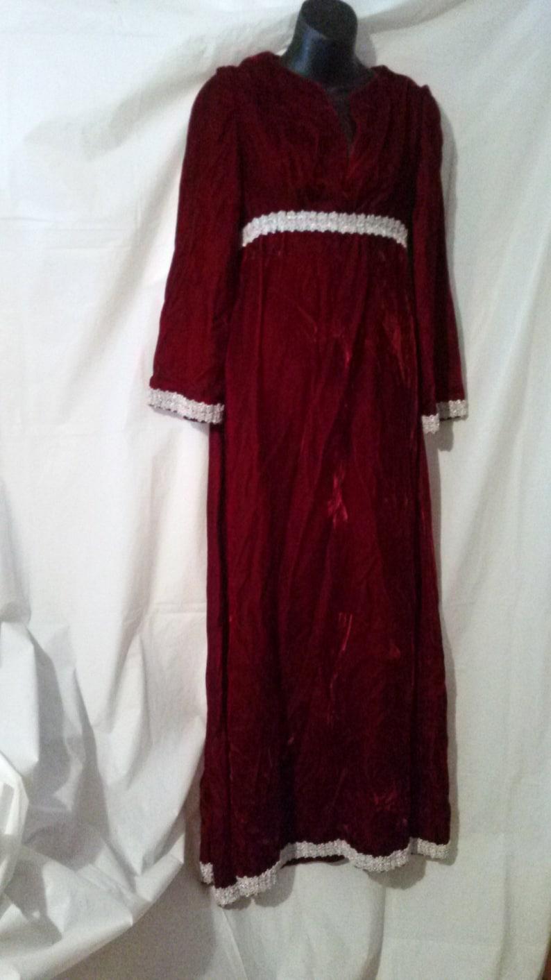 024e9da91c BIG CLEARANCE SALE-70s Vintage Red Velvet Maxi Dress-Mod Party Boho  Holiday-Size 4-Small-36