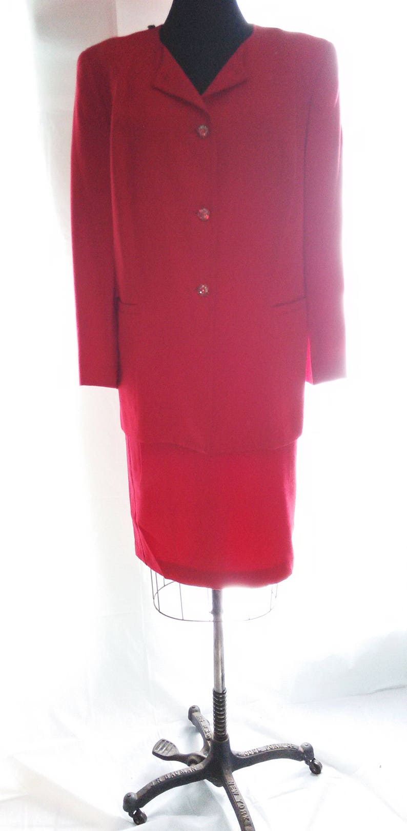 dd5c0e2f8e2 BIG HOLIDAY SALE-80s Vintage Red Wool Suit-Holiday-Ruby
