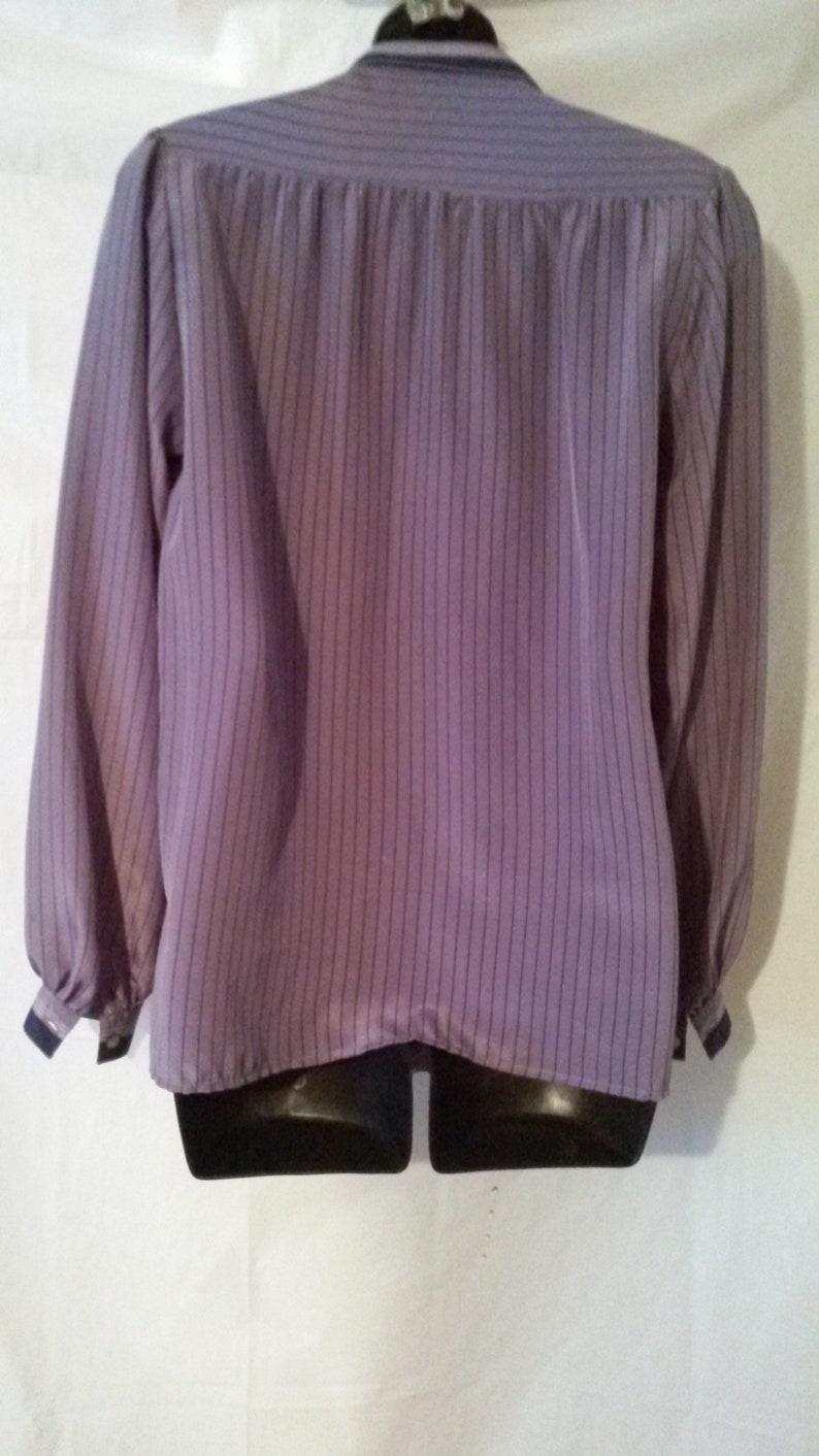 BIG ESTATE SALE-70s Vintage Mod Blouse-Serge Nancel Paris-Front Button Man Tailored-Pop Art-Size 4-Small-36 Bust-Free Shipping