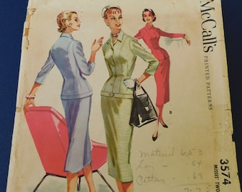"""Vintage 50's McCalls #3574 Sewing Pattern Women's Fitted Suit with Jacket and Skirt Waist 28"""" - Bust 36"""""""