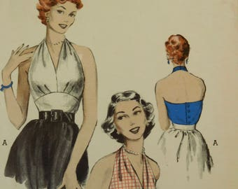 """Vintage 50's Butterick #6136  Sewing Pattern Women's Halter Neck Blouse Empire Midriff Bust 30"""""""