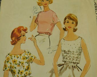 """Vintage 60's McCalls #5380 Sewing Pattern Women's Blouse Back Buttoned Tuck In with Darts Bust 32"""""""