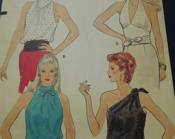"""Vintage  80's Vogue #8661 Sewing Pattern Women's Tops Halter Semi Fitted 4- Styles Bust 36"""""""
