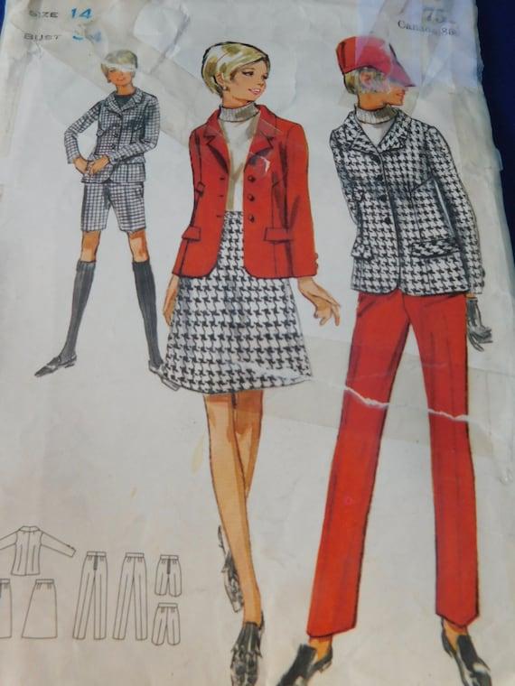 Vintage 60/'s Butterick #4557 Sewing Pattern Women/'s Suit Bermuda Shorts A-Line Skirt Pants Bust 34
