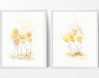 Fields of Love Duo, Two Prints,  botanical print, watercolor botanical, watercolor flowers, cottage chic, floral watercolor