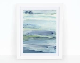 5x7 Custom Dreaming in Blue, Minimal, watercolor print, wall art, watercolor seaside, watercolor beach, watercolour wall art