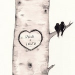 Birch Tree Love No. 2 , Love Birds, Personalized, wall art, love birds, wedding gift