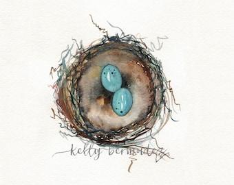 Nest Print, Bird Art, Robins Nest Print,  Robin eggs, blue, Watercolor Printable, Mother's Day Gift, Home Decor