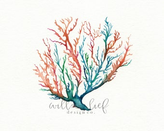 No. 5 Sea Coral, Wall art, Watercolor, beach art